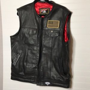 Other - Men's leather biker vest Sz 48